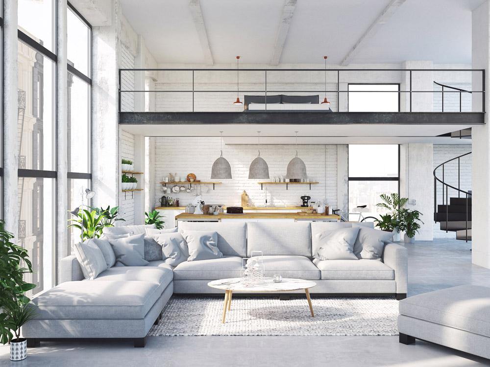mieszkanie loft, listwy podłogowe, białe listwy przypodłogowe,